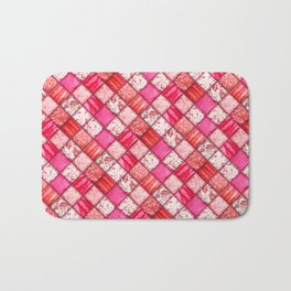 Faux Patchwork Quilting - Pink and Red Bath Mat