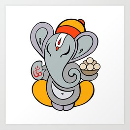 Hindu God Ganapati (Ganesha). Hand drawn illustration. Art Print
