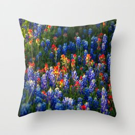 Wonderful Wildflowers - Bluebonnets and Indian Paintbrush on Spring Day in Texas Throw Pillow