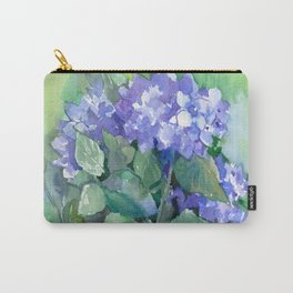 Hydrangea, Sky Blue Flowers, Royal Blue Wall art Carry-All Pouch