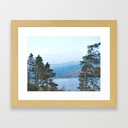 Pine Trees at Thirlmere, Lake District, Cumbria, UK Watercolour Framed Art Print