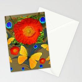 ORANGE POPPY FLOWER & BUTTERFLIES PEACOCK PATTERNS Stationery Cards