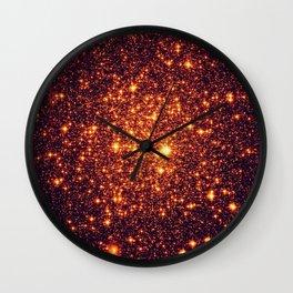 Copper Bronze Glitter Stars Wall Clock