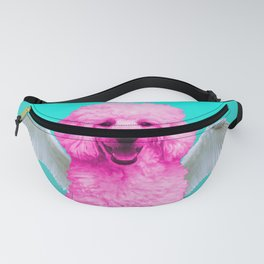 Pop Art Pink Poodle Angel Wings - turquoise #poodle #angel Fanny Pack
