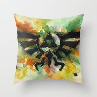 triforce Throw Pillows featuring Triforce by Fernanda Frasson