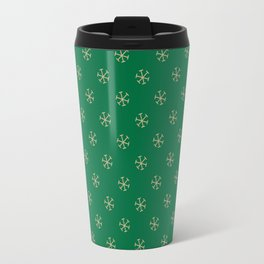 Tan Brown on Cadmium Green Snowflakes Travel Mug