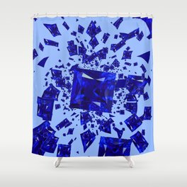 Blue Sapphire Gems Infusion Abstract Patterns Shower Curtain