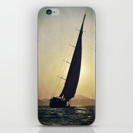 sailboat and sunset iPhone Skin