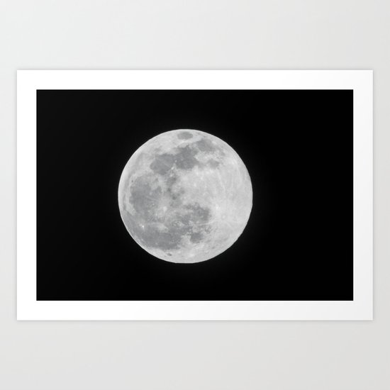 Full Moon Black and White Telescope Space Photography by younghousestudios
