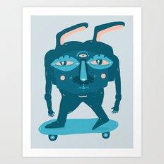 Skater Bunny Art Print