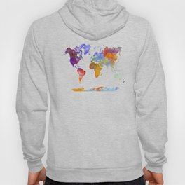 World map in watercolor 23 Hoody