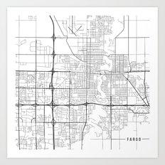 Fargo Map, USA- Black and White Art Print