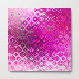 Wobbly Dots in shocking pink Metal Print