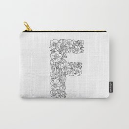 Floral Type - Letter F Carry-All Pouch
