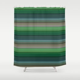 Striped green-gray pattern Shower Curtain