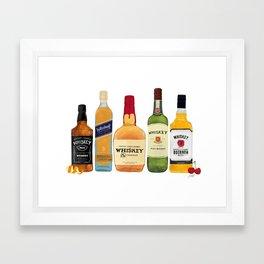 Whiskey Bottles Illustration Framed Art Print