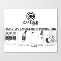 dragon ball Canvas Prints featuring Manga, Dragon Ball, Capsule Corp instruction by Babylon ART