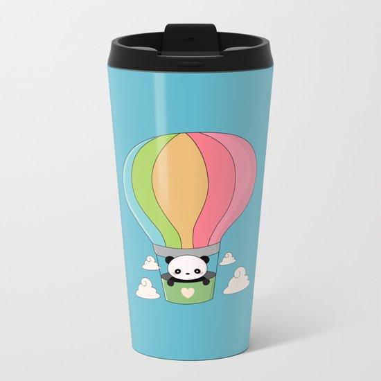 Kawaii Panda Bear Hot Air Balloon Metal Travel Mug
