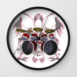 Drum Kit with Tribal Graphics Wall Clock