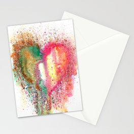 Heart Watercolor Art Stationery Cards