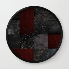 Patchwork (Burgundy + Black) Wall Clock