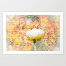 Tulip Flower Love Letter Art Print