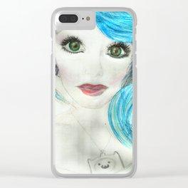 Aqua Blue Beauty Clear iPhone Case