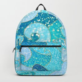 Mermaid Waves And Sea Faux Glitter- Sun Light Over The Ocean Backpack