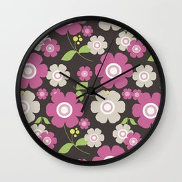 Flower graphic art: Royal gray and pink Wall Clock