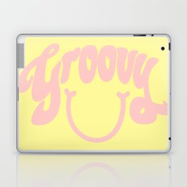 Groovy Smile // Fun Retro 70s Hippie Vibes Lemonade Yellow Grapefruit Pink Lettering Typography Art Laptop & iPad Skin
