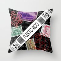 puerto rico Throw Pillows featuring Welcome to Puerto Rico by Barney Ortiz