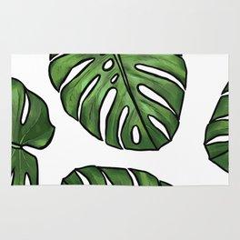 Monstera Leaf, Green Tropical Leaf, Rain Forest Foliage Rug