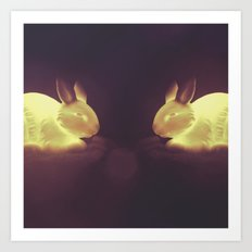 Glow Bunnies Art Print