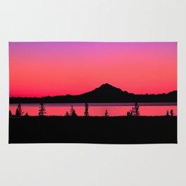 Pink Sunset Silhouette - Mt. Redoubt, Alaska Rug