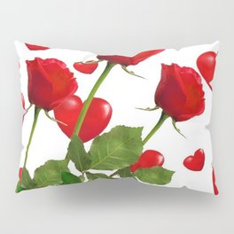 RED  ROSES & VALENTINES HEARTS  DESIGN Pillow Sham