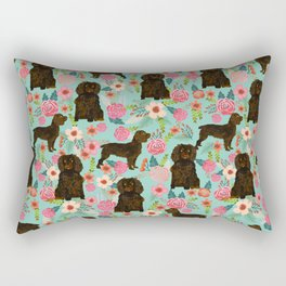 Boykin Spaniel custom dog breed floral pattern print by pet friendly dog art pet portraits Rectangular Pillow