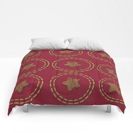 Burgundy & Gold Star Pattern Comforters