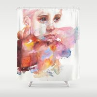 agnes Shower Curtains featuring don't worry about it, you're a flower by agnes-cecile