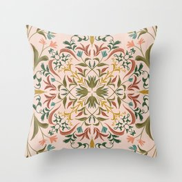 Pink Retro florals Throw Pillow