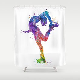 Ice Skating Girl Colorful Watercolor Art Gift Shower Curtain