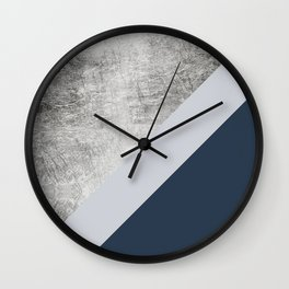 Modern minimalist navy blue grey and silver foil geometric color block Wall Clock