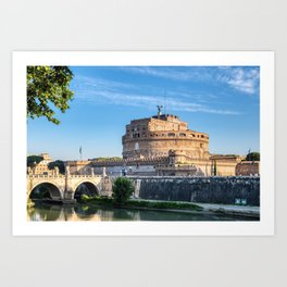 Ponte Sant'Angelo at dawn - Rome, Italy Art Print