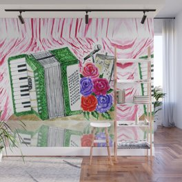 Accordion with roses Wall Mural