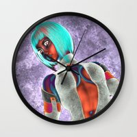 sci fi Wall Clocks featuring Sci Fi Girl  by Brian Raggatt