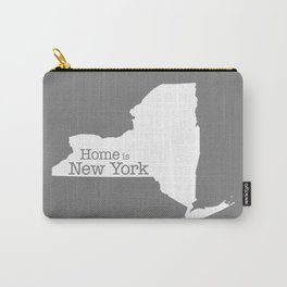 Home is New York - State outline on gray Carry-All Pouch