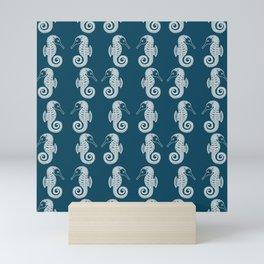 Seahorses in Love Pattern - cute animal design - white on navy blue Mini Art Print