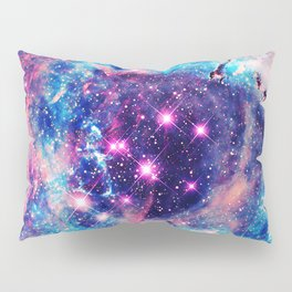 Trendy Pastel Pink Blue Nebula Girly Stars Galaxy Pillow Sham