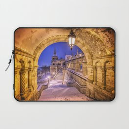 Snowy winter morning at the Fisherman's Bastion in Budapest Laptop Sleeve