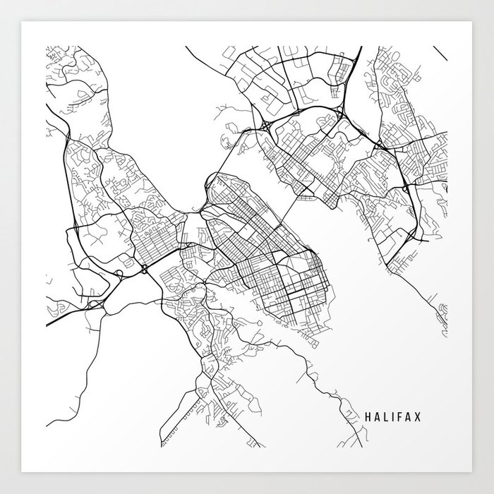 Halifax Map Canada Black and White Art Print by mainstreetmaps