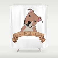 pit bull Shower Curtains featuring Love is a pit bull no.7 by Shay by design